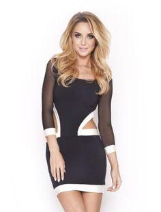 Black (Black) Quontum Monochrome Wrap Mesh Panel Dress | 270503401 | New Look