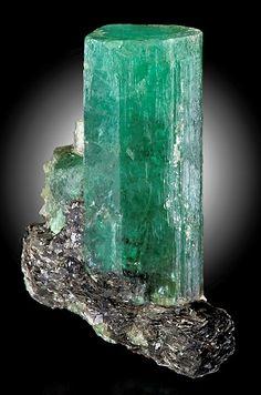 Beryl var. Emerald on Biotite matrix. From the Carnaiba Mine, Campo Formoso District, Bahia, Northeast Region of Brazil