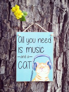 18,00 - Placa Music and Cat 15x20