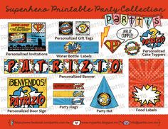 Colección Imprimible Fiesta Infantil Superhéroes personalizada PREMIUM :: PREMIUM Superhero printable collection by Parttis