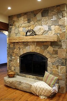 Natural Thin Stone Veneer and Hardscape Photos Fireplace Project with Thin Natural Stone Veneer Fire Stone Veneer Fireplace, Natural Stone Fireplaces, Cabin Fireplace, Rock Fireplaces, Rustic Fireplaces, Fireplace Surrounds, Fireplace Design, Fireplace Ideas, Stone Mantle