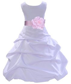 Wedding Pageant White Flower Girl Dress with Tiebow 808t 2 ekidsbridal http://www.amazon.com/dp/B00NUPWBWW/ref=cm_sw_r_pi_dp_-BEZub08TWY0H