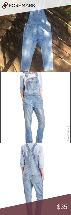 GAP Slouchy Crop Denim Overalls. Size L. GAP Slouchy Crop Denim Overalls. Size L. Straight silhouette with a slouchy fit. I absolutely adore this overalls but have recently lost weight and they no longer fit. Only worn twice. 100% cotton. GAP Jeans Overalls