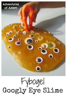 Easy to make slime using only two ingredients. Add googly eyes to the Fybogel Slime to great a Halloween fine motor skill activity.  Adventures of Adam Fybogel Google Eye Slime