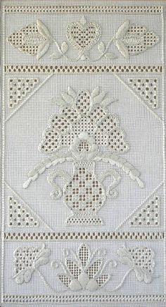 A beautiful whitework sampler with pulled / drawn threads, by Jane Zimmerman