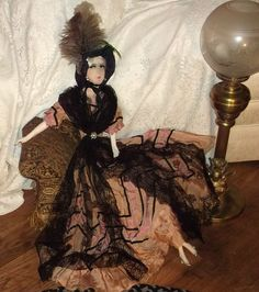 """Very Pretty 1920's Antique Silk Face French Boudoir Doll Fur Lashes 36"""" Tall   eBay"""