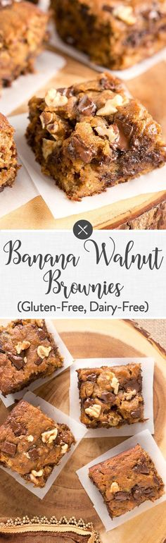 These Banana Walnut Brownies are moist fudgy and delicious. They are very easy to make - great for a last minute dessert that everyone will love. Best Dessert Recipes, Paleo Dessert, Gluten Free Desserts, Dessert Bars, Healthy Desserts, Easy Desserts, Delicious Desserts, Yummy Food, Paleo Treats
