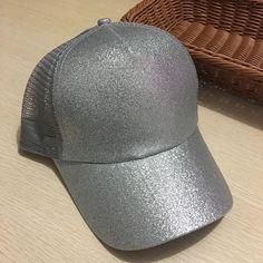 6896a9d069f Glitter Ponytail Baseball Snapback Cap Messy Bun Cotton Mesh Trucker Hat.  Caps For WomenSnapback CapBaseball HatsGlitterDad ...