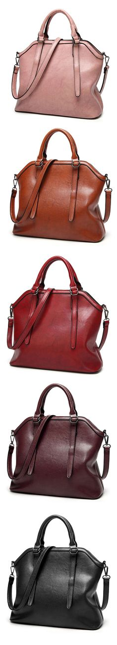 US$41.41  Ekphero Vintage PU Leather Handbag Shoulder Bag Crossbody Bag For Women