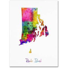 Trademark Fine Art Rhode Island Map Canvas Art by Michael Tompsett, Size: 18 x 24, Multicolor