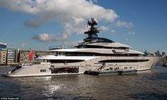 Nice ride: The 308ft Kismet yacht boasts six bedrooms, three decks, a helipad, and a private sundeck with a pool-Jacuzzi-BBQ area