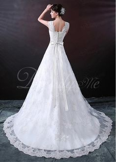 Elegant Tulle Beaded Lace Appliques A-line Wedding Dress