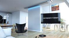 Screentrain TV Halterung für Decke: verschiebbar, drehbar, neigbar mit fernbedienbarer Beleuchtung. Inklusive Verkabelung 4K HDMI, Patch, Toslink.