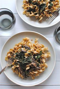 Portobello Mushroom and Kale Stroganoff // Bev Cooks