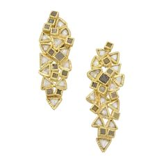 Todd Reed Earrings Gold Diamond Macles Ctw Raw Diamonds Hinged Hand Forged And Fabricated