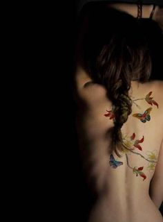 50 Insanely gorgeous nature tattoos -- really pretty floral/butterfly back piece