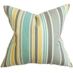 "The Pillow Collection Manila Stripe Cotton Throw Pillow Color: Jade, Size: 24"" x 24"""