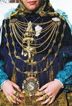 Traditional jewellery from Ibiza island made of gold, and showing Christian symbols.  The similarities with the North African jewellery are clear.