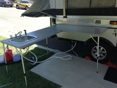 Awesome outdoor camp kitchen.  I love this idea.