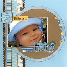 Scrapbook Layout - Baby boy page - Little one stripes. #diy #crafts