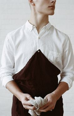 Linen Barista Button Apron | Kitchen Towel Natural | Ouur by Kinfolk. Photo by Parker Fitzgerald.