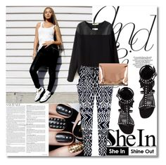 """Shein Black Blouse"" by fattie-zara ❤ liked on Polyvore featuring Yves Saint Laurent, MM6 Maison Margiela and shein"