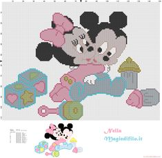 Baby Mickey and Minnie Mouse | ... : Cross stitch pattern Baby Minnie and Mickey Mouse with toys