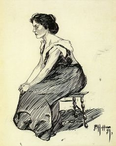 Edward Hopper ~ Study of a Seated Woman, 1899 (pen and ink)