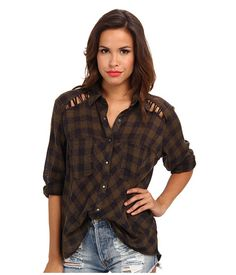 Button down with some stylish details. LOVE. Free People Plaid Lace Up Button-Down | Pretty Little Liars