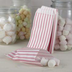 25 Sachets à bonbons en papier à rayures blanches et roses. Parfait pour permettre à vos invités d'emporter les délicieux bonbons de votre candy bar de mariage.