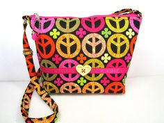 Peace Signs Handmade Small Cross Body Fabric Purse / Washable by DarlingsDesigns…