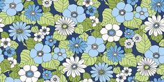 Happy (3851) - Eco Wallpaper Wallpapers - A bold floral design with large scale flowers in bright shades of blue with green leaves in a 70s style print. Other colours also available. This is a paste the wall product. Please request a sample for true colour match.