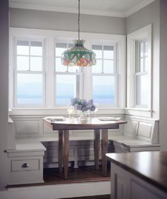 A built-in breakfast alcove in a shingle style Connor home