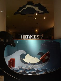 Vitrine Hermes - septembre 2009 | Flickr - Photo Sharing! Window Display Design, Store Window Displays, Sign Display, Pop Display, Retail Displays, Exhibition Stand Design, Hermes Window, Vitrine Design, Retail Facade