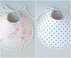 Feeding Reversible Pom Pom Checkered Polka Dot Boho Baby Girl Bib Black White For Toddle