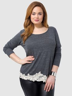 Long-Sleeve Crochet Trim Top - Soprano