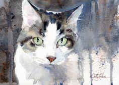 Chat bien-aimé - impression d'une aquarelle originale de Cathy Johnson