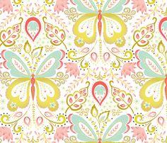 Springtime Mariposa - coral fabric by kayajoy on Spoonflower - custom fabric