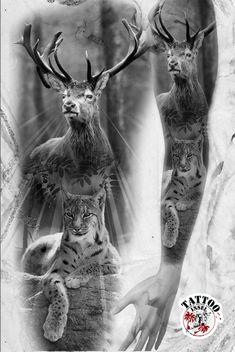 Full arm sleeve tatoomotiv von Luchs und Hirsch von der Tattooinsel Arm Sleeve, Hirsch Tattoo, Tattoo Motive, Tattoos, Animals, Surrealism, Lynx, Hunting, Tatuajes