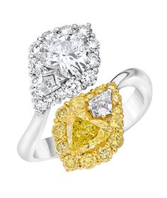 Heart Crossover Yellow and White Diamond Ring