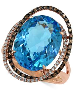 Bleu Rosé by EFFY Blue Topaz (12-1/6 ct. t.w.) and Brown Diamond (1/3 ct. t.w.) Orbit Ring in 14k Rose Gold