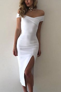 This dress will shake up your wardrobe! Here we show you this dress with off the shoulder, splited hem, bodycon fit. Style it with high heels to match a beautiful look.