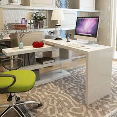 This beautiful office desk is excels in all departments. It's gorgeous design allowing it to fit in to any modern setting, whilst its practical usage allows you to use it for all purposes. It boasts a 180 degree rotating shelf, enabling it to fit into lot