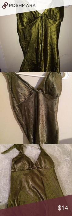 Vanity Green satin spaghetti strap top Ties at neck Army green  Shirt ends at waist Size small Padded built in bra Sparkly Great for a night out Vanity Tops