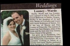 Mr. & Mrs. Looney-Warde. | 15 Wedding Announcements From Couples With Deeply Unfortunate Names