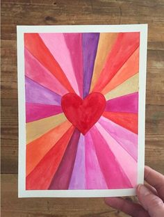 Paintings: Make Art with a Ruler Heart burst paintings for Valentine's! A great art project for kids, teens, and adults alike.Heart burst paintings for Valentine's! A great art project for kids, teens, and adults alike. Kids Crafts, Valentine Crafts For Kids, Arts And Crafts, Valentines Art Lessons, Valentine Decorations, Arte Elemental, Classe D'art, Drawing Videos For Kids, Art Projects For Adults