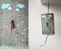 Chalk art invitation to a rock climbing party.