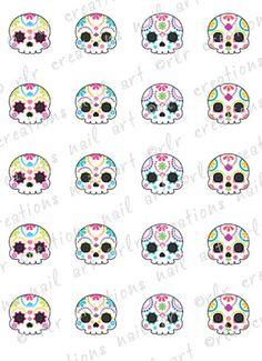 20 Colorful Sugar Skull Assortment Water Slide Nail Decals Skull Nail Decals | eBay