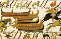 Bayeux Tapestry 39. Here the horses leave the ships