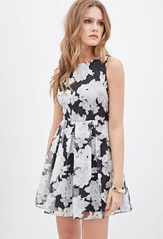 Pleated Floral Organza Dress | FOREVER 21 - 2000137668